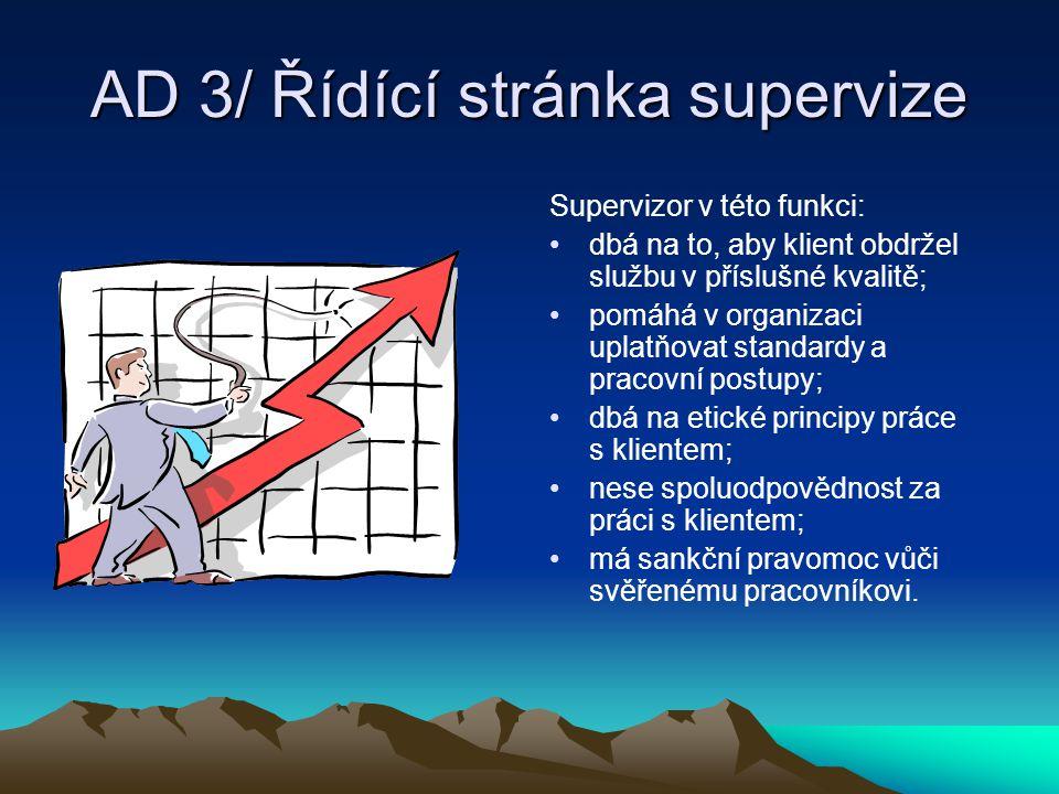 AD 3/ Řídící stránka supervize