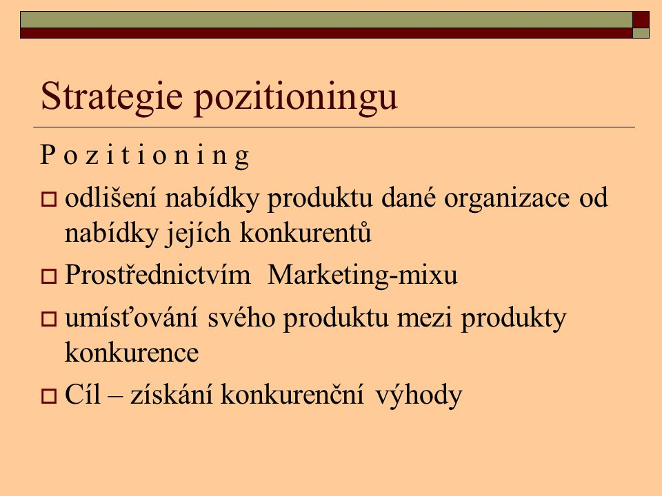 Strategie pozitioningu