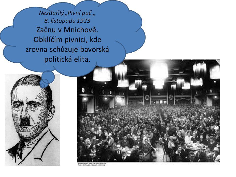 """Nezdařilý """"Pivní puč """" 8. listopadu 1923. Začnu v Mnichově."""
