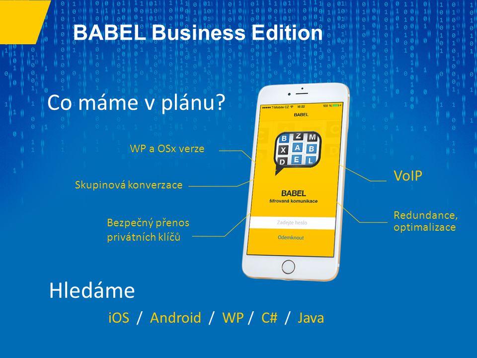 Co máme v plánu Hledáme BABEL Business Edition VoIP