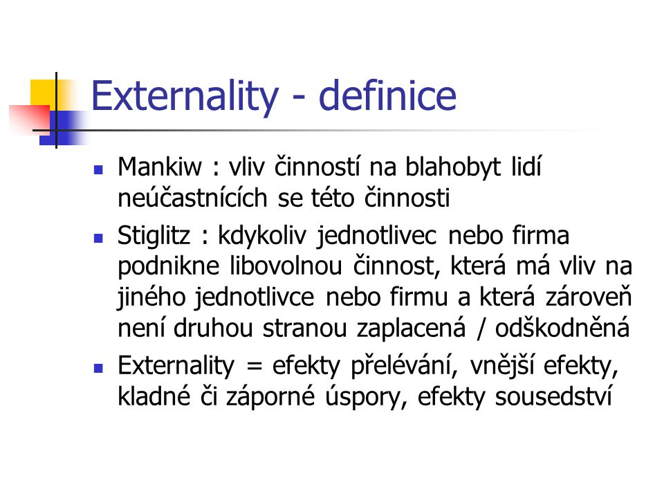 Externality - definice
