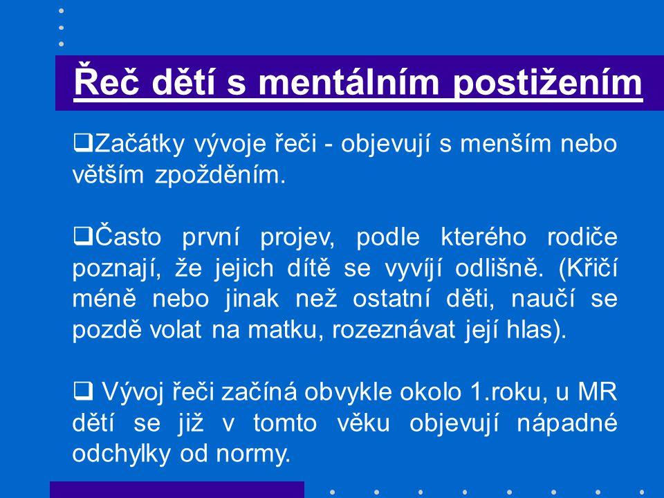 Řeč dětí s mentálním postižením