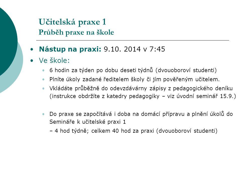 Učitelská praxe 1 Průběh praxe na škole