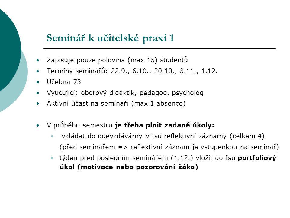 Seminář k učitelské praxi 1