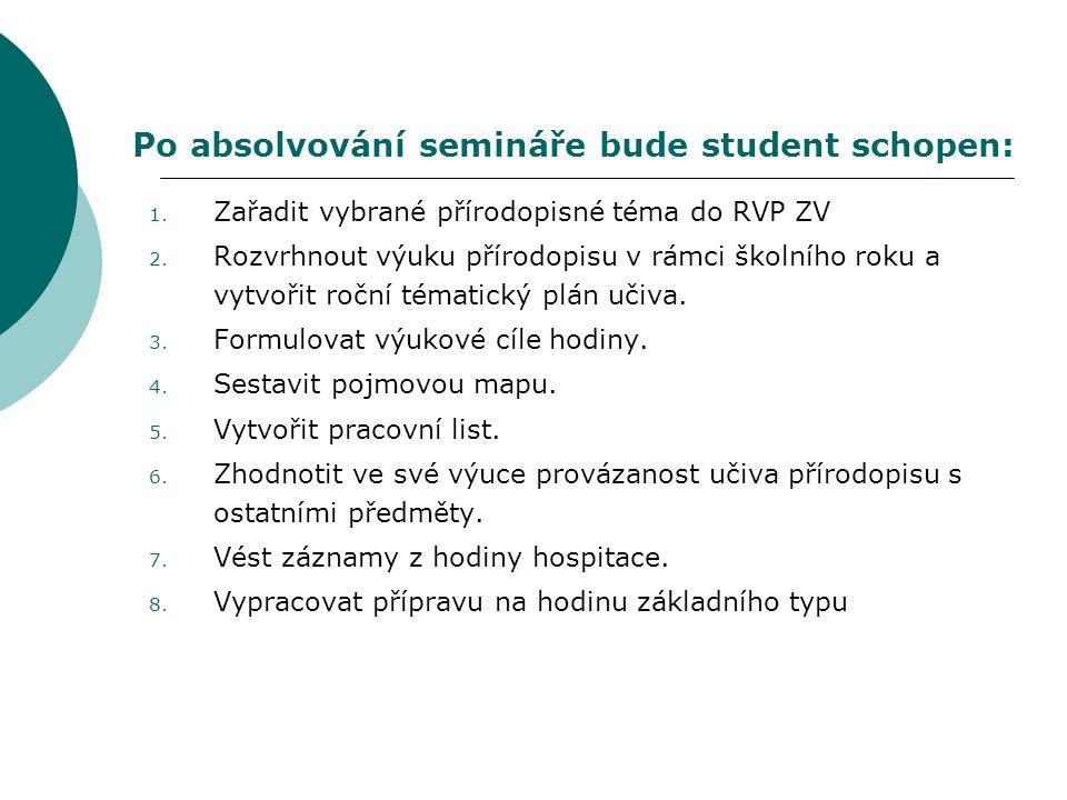 Po absolvování semináře bude student schopen: