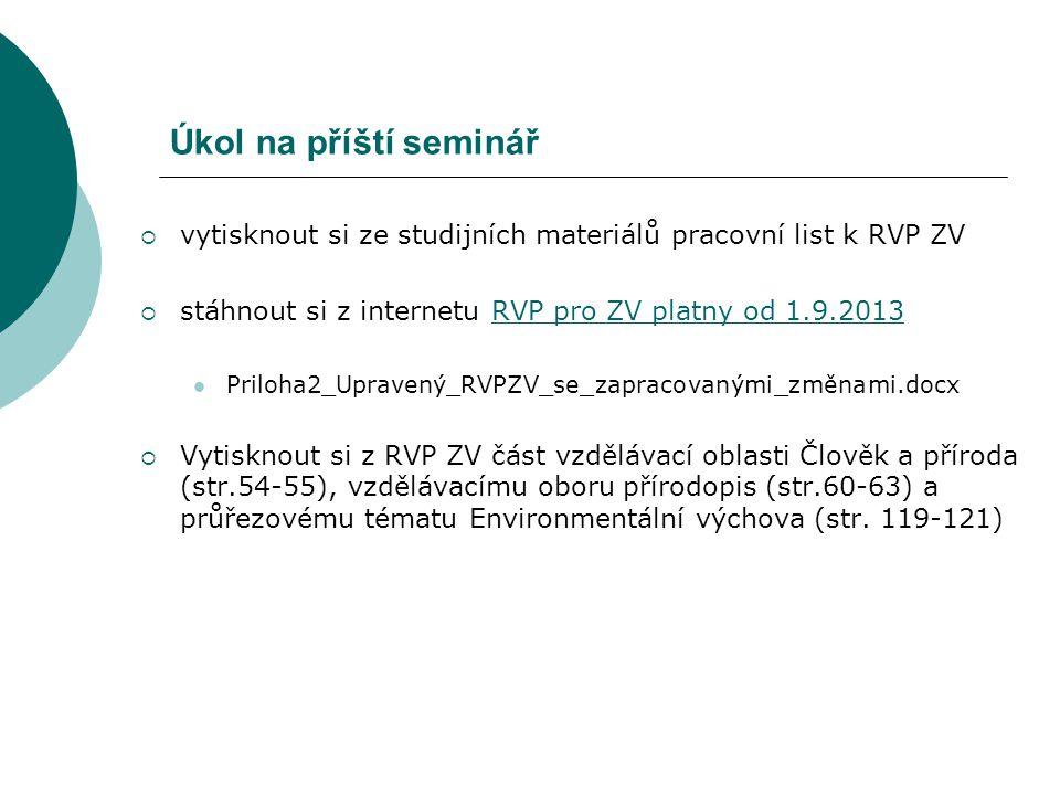 Úkol na příští seminář vytisknout si ze studijních materiálů pracovní list k RVP ZV. stáhnout si z internetu RVP pro ZV platny od 1.9.2013.