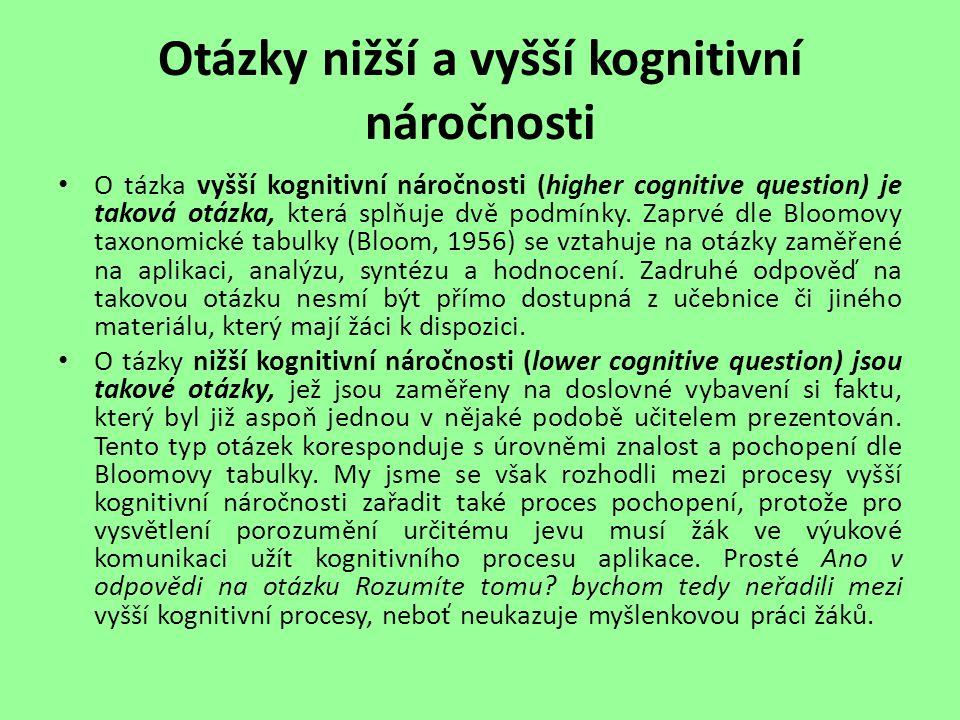 Otázky nižší a vyšší kognitivní náročnosti