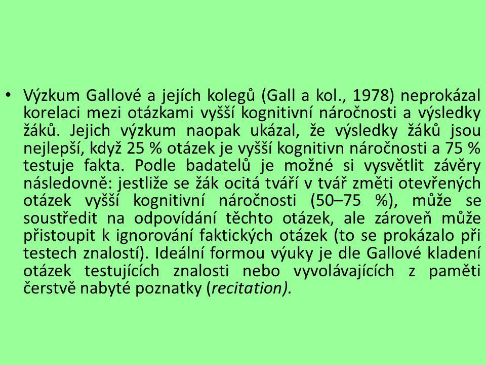 Výzkum Gallové a jejích kolegů (Gall a kol