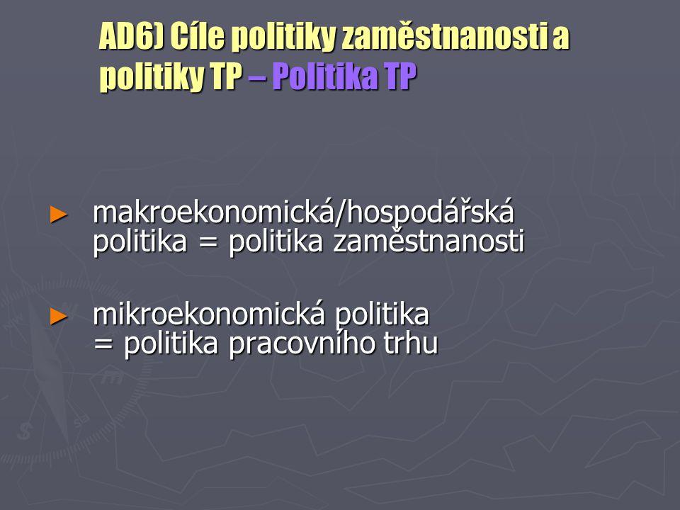 AD6) Cíle politiky zaměstnanosti a politiky TP – Politika TP