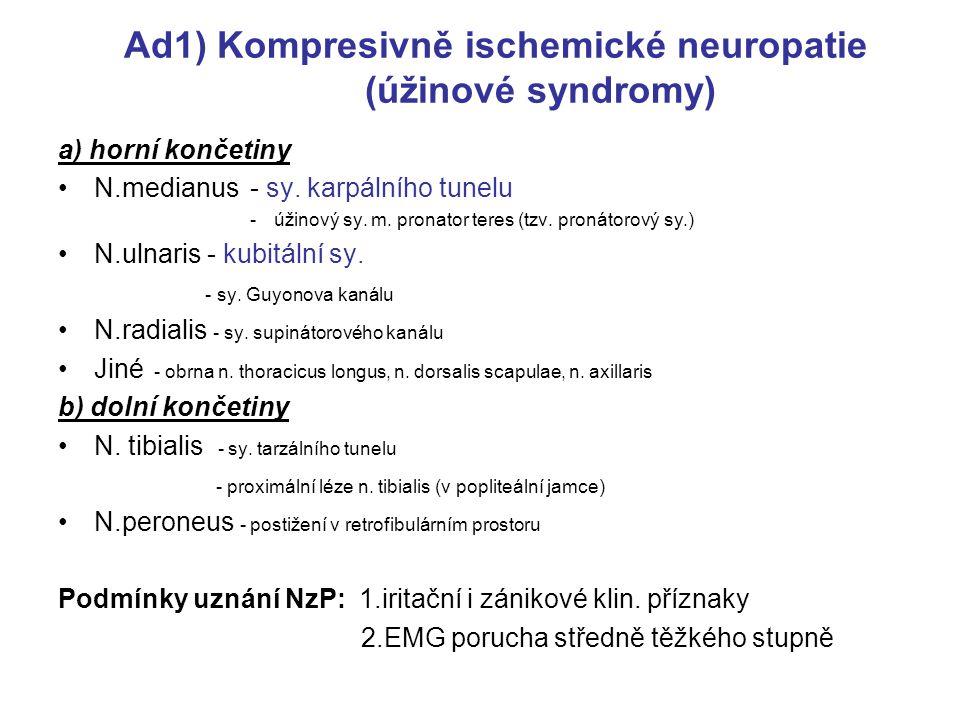 Ad1) Kompresivně ischemické neuropatie (úžinové syndromy)