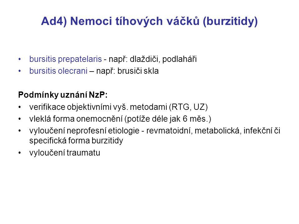 Ad4) Nemoci tíhových váčků (burzitidy)