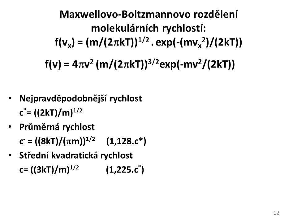 f(v) = 4v2 (m/(2kT))3/2exp(-mv2/(2kT))