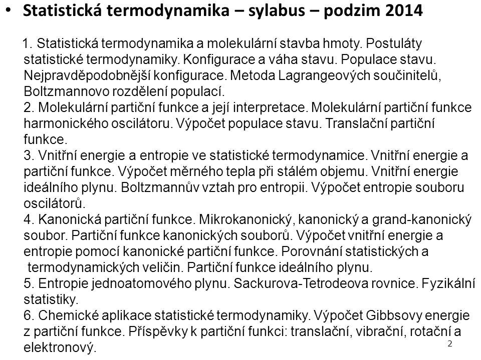 Statistická termodynamika – sylabus – podzim 2014