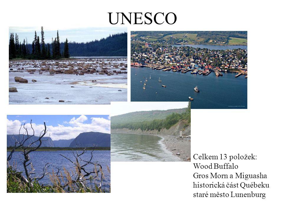 UNESCO Celkem 13 položek: Wood Buffalo Gros Morn a Miguasha