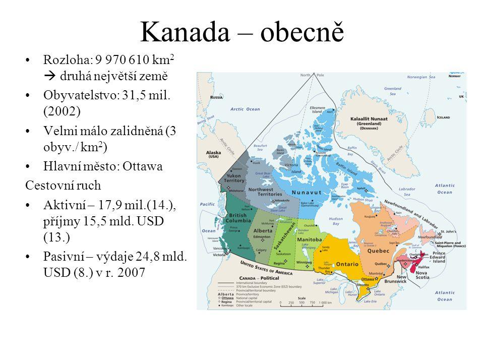 Kanada – obecně Rozloha: 9 970 610 km2  druhá největší země