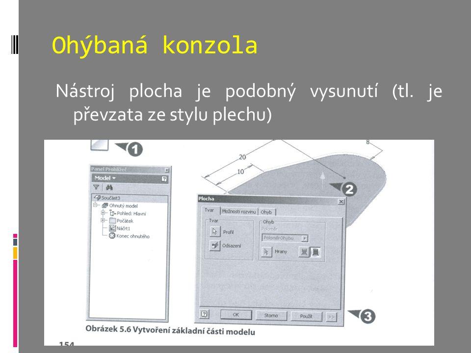 Ohýbaná konzola Nástroj plocha je podobný vysunutí (tl. je převzata ze stylu plechu)