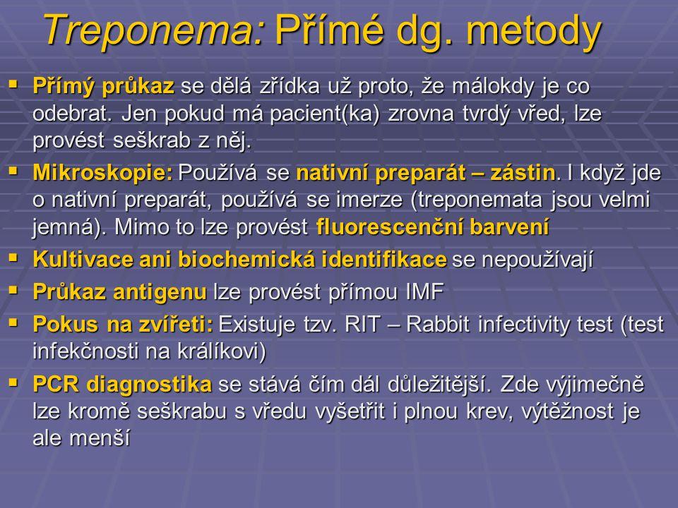 Treponema: Přímé dg. metody
