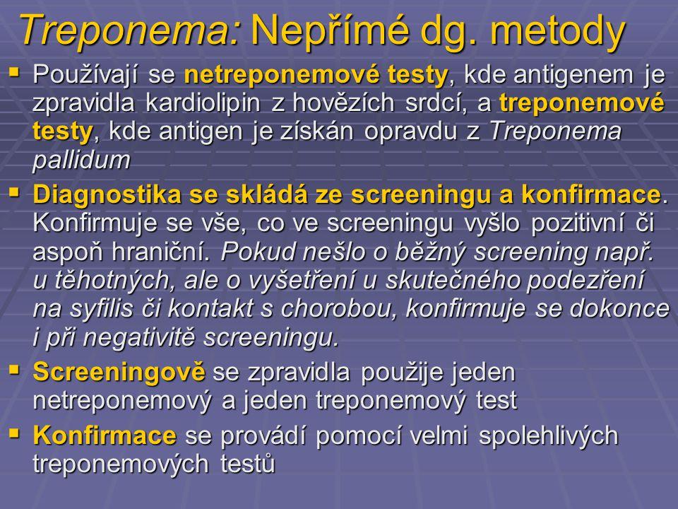 Treponema: Nepřímé dg. metody