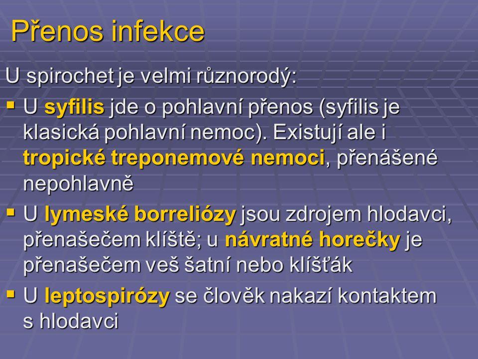 Přenos infekce U spirochet je velmi různorodý: