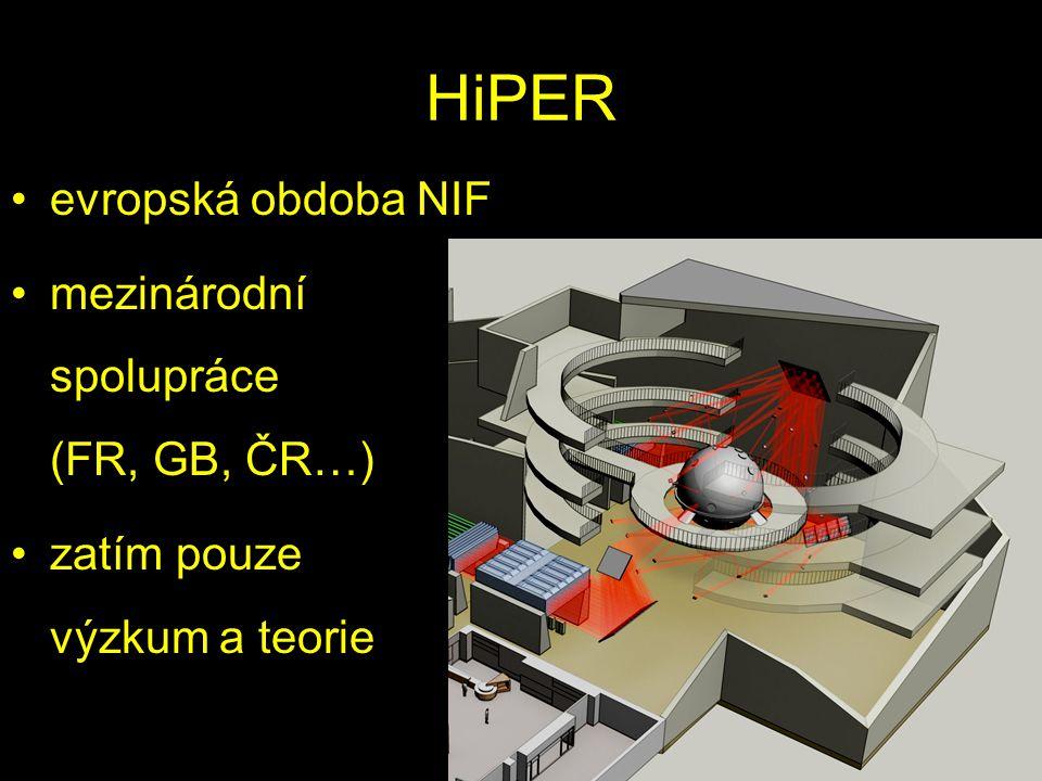 HiPER evropská obdoba NIF mezinárodní spolupráce (FR, GB, ČR…)
