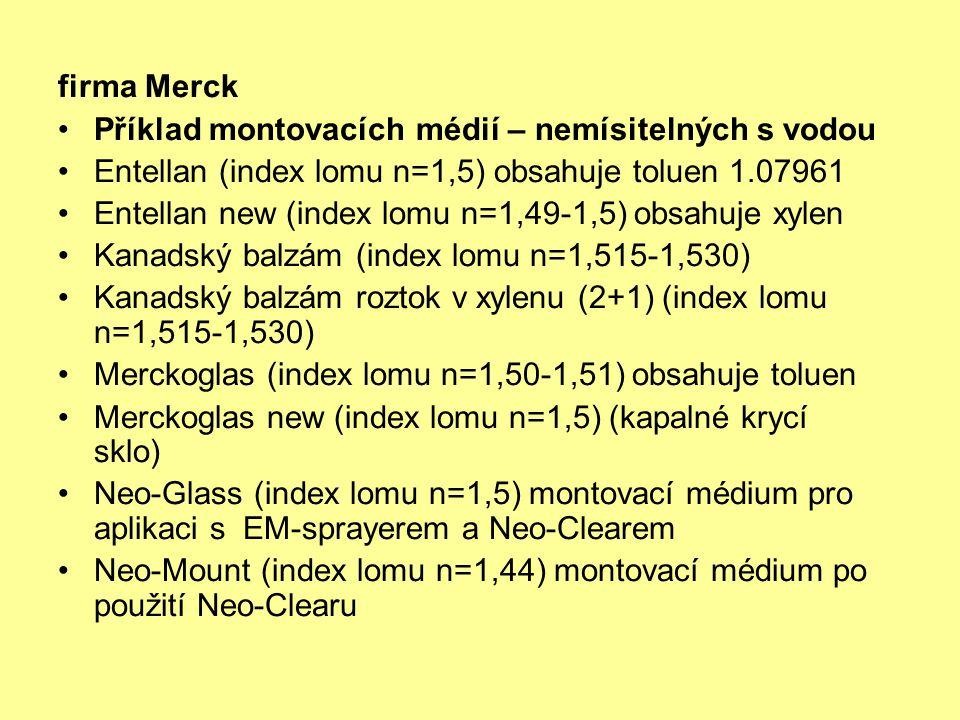 firma Merck Příklad montovacích médií – nemísitelných s vodou. Entellan (index lomu n=1,5) obsahuje toluen 1.07961