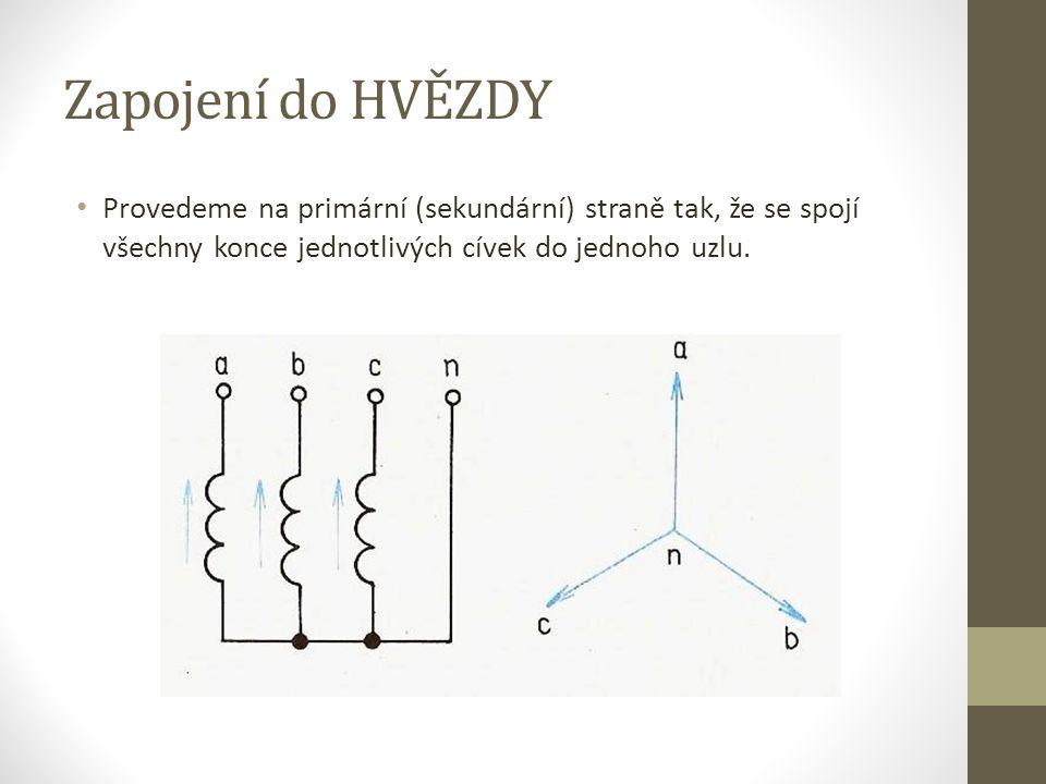 Zapojení do HVĚZDY Provedeme na primární (sekundární) straně tak, že se spojí všechny konce jednotlivých cívek do jednoho uzlu.
