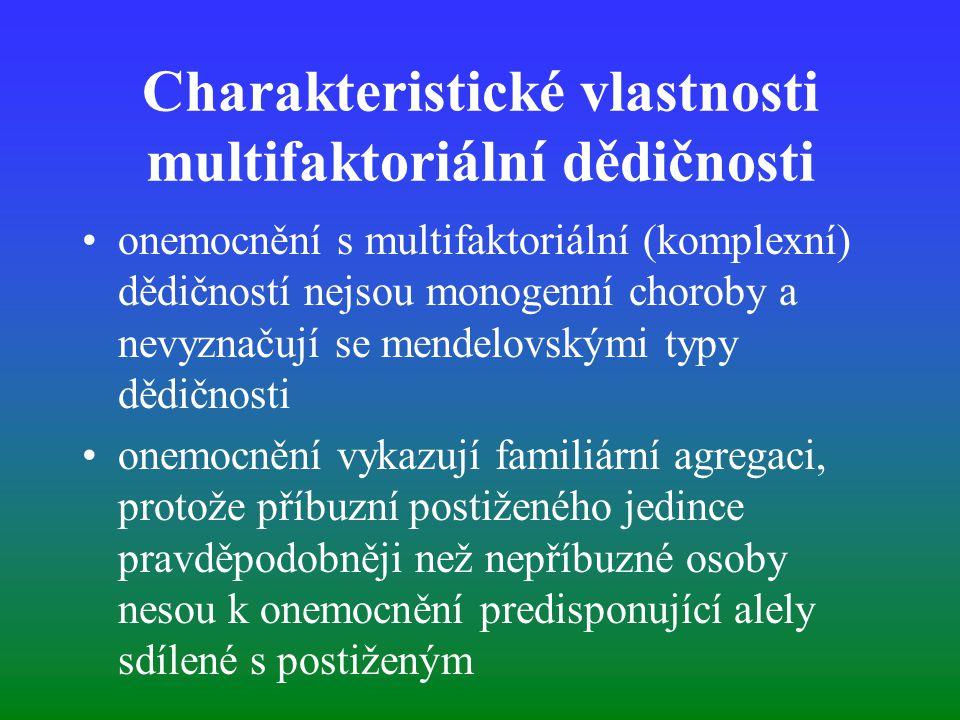 Charakteristické vlastnosti multifaktoriální dědičnosti