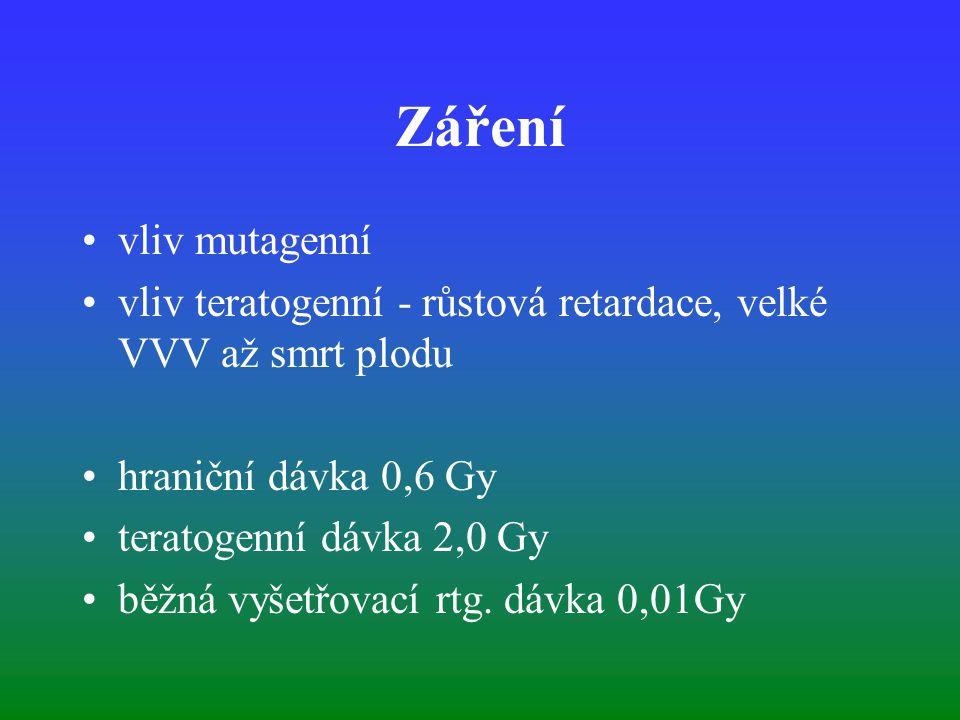 Záření vliv mutagenní. vliv teratogenní - růstová retardace, velké VVV až smrt plodu. hraniční dávka 0,6 Gy.