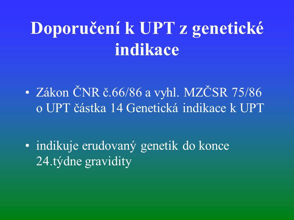 Doporučení k UPT z genetické indikace