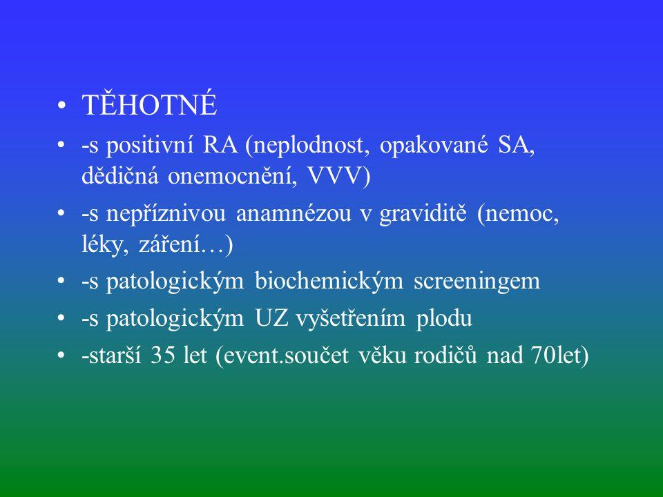 TĚHOTNÉ -s positivní RA (neplodnost, opakované SA, dědičná onemocnění, VVV) -s nepříznivou anamnézou v graviditě (nemoc, léky, záření…)