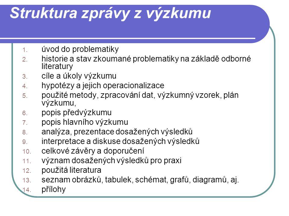 Struktura zprávy z výzkumu