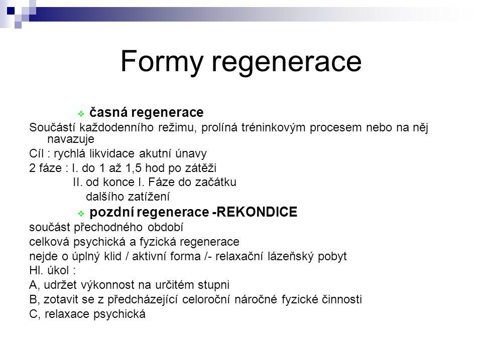 Formy regenerace časná regenerace pozdní regenerace -REKONDICE