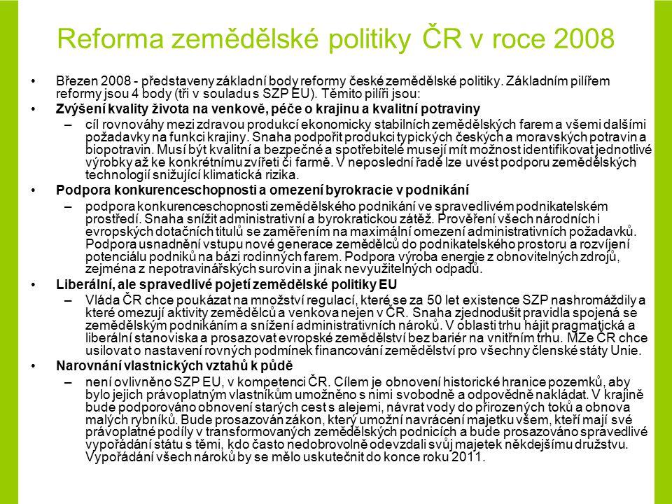Reforma zemědělské politiky ČR v roce 2008