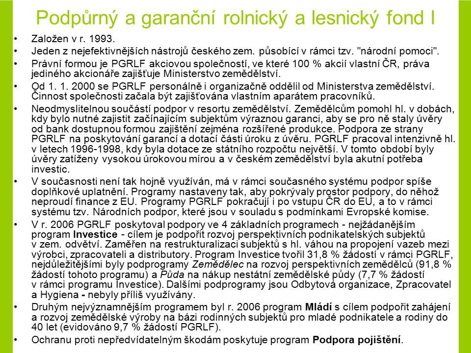 Podpůrný a garanční rolnický a lesnický fond I