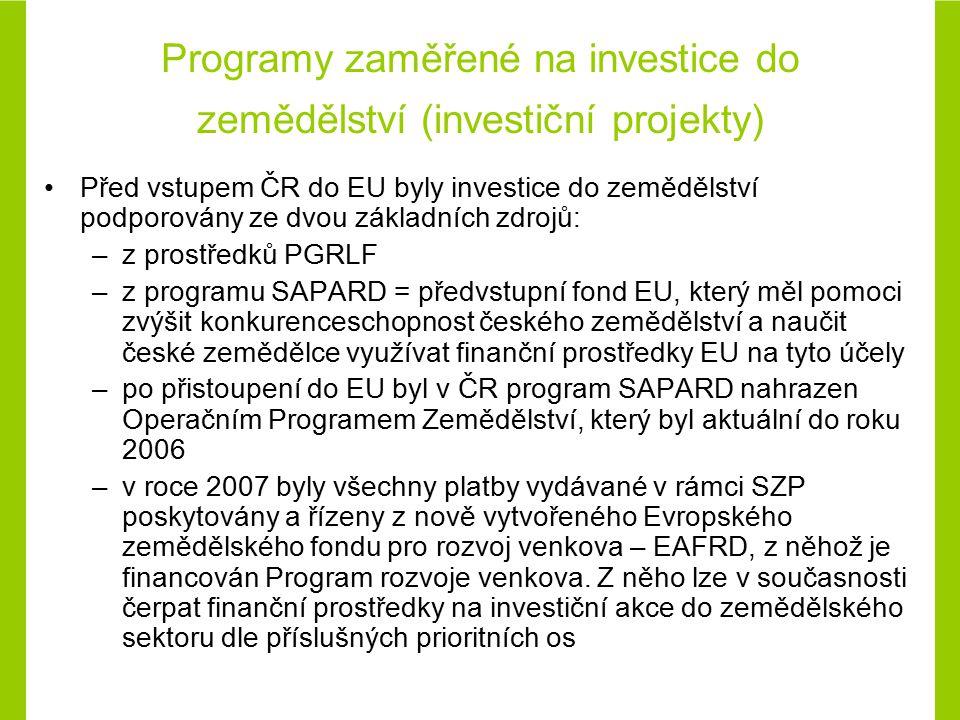 Programy zaměřené na investice do zemědělství (investiční projekty)