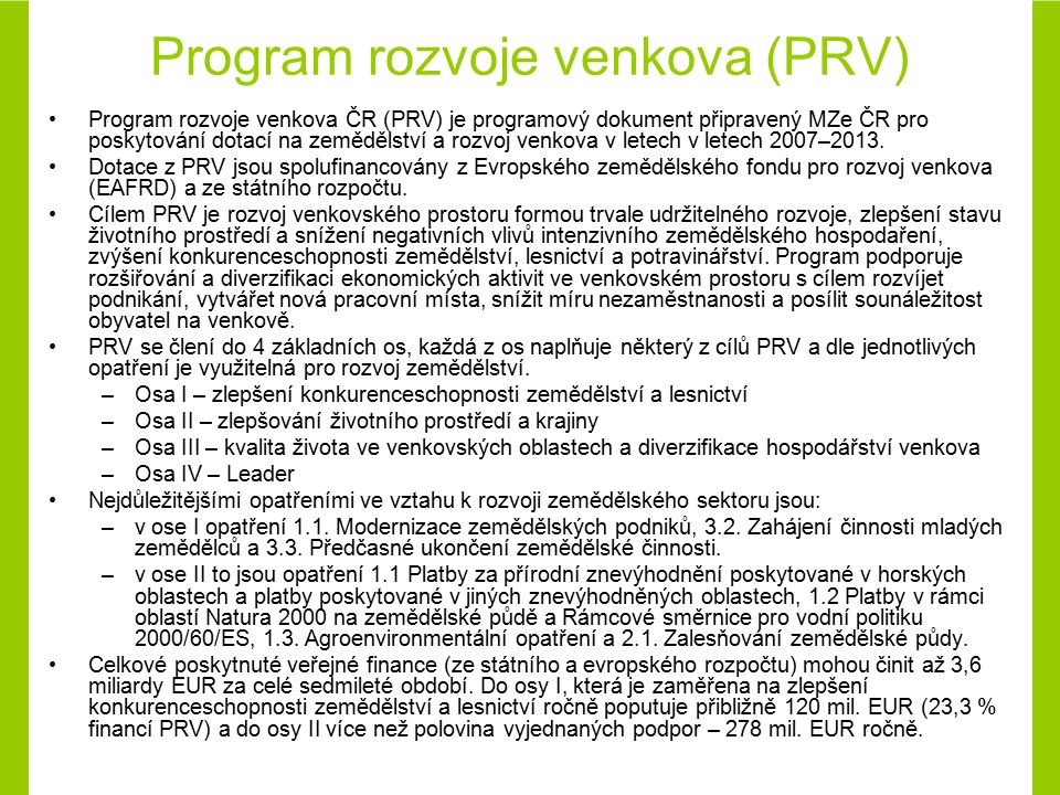 Program rozvoje venkova (PRV)