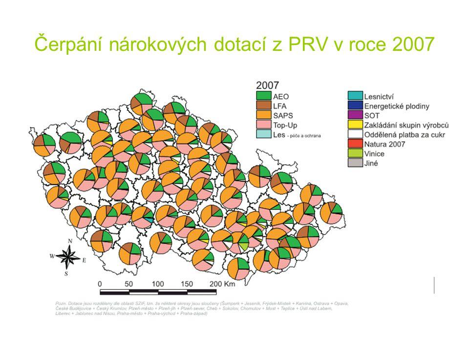 Čerpání nárokových dotací z PRV v roce 2007