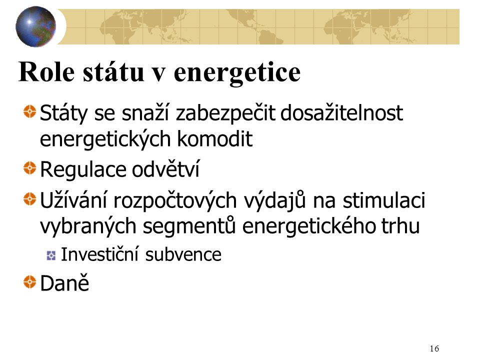Role státu v energetice