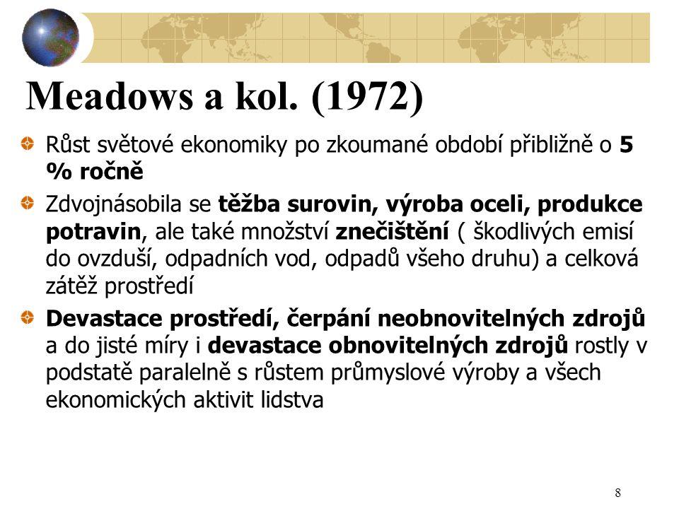 Meadows a kol. (1972) Růst světové ekonomiky po zkoumané období přibližně o 5 % ročně.