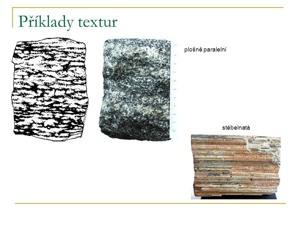 Příklady textur plošně paralelní stébelnatá