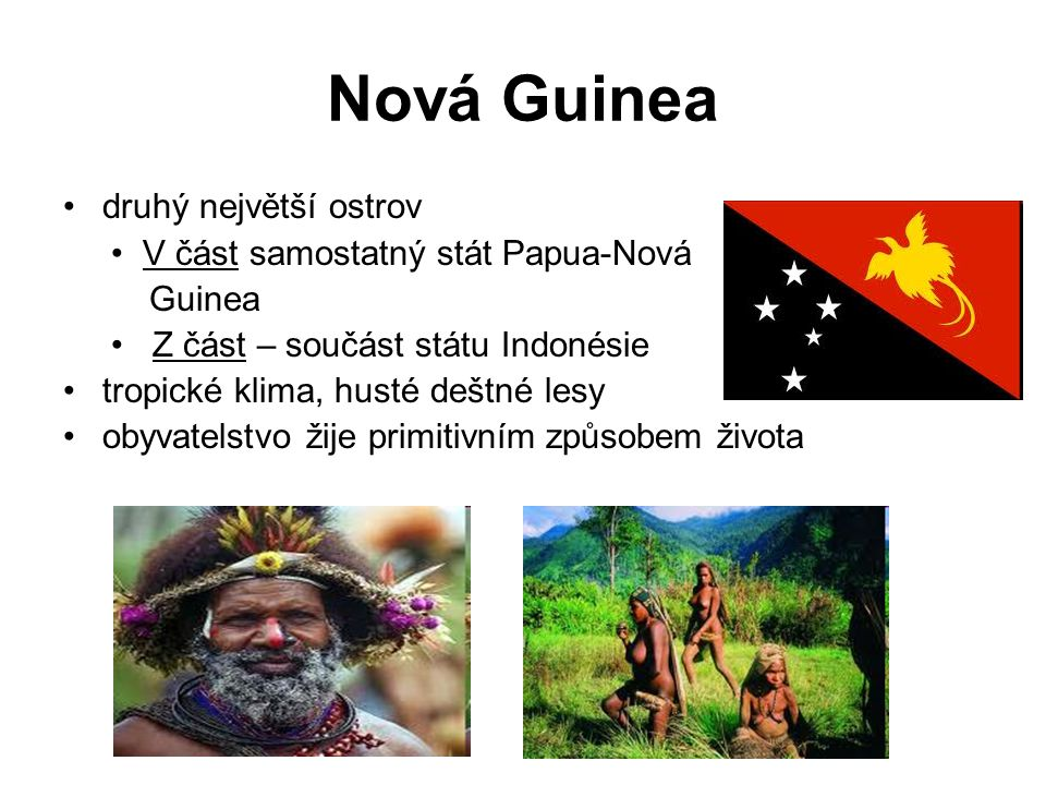 Nová Guinea druhý největší ostrov • V část samostatný stát Papua-Nová