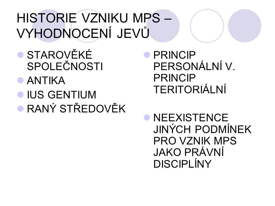 HISTORIE VZNIKU MPS – VYHODNOCENÍ JEVŮ