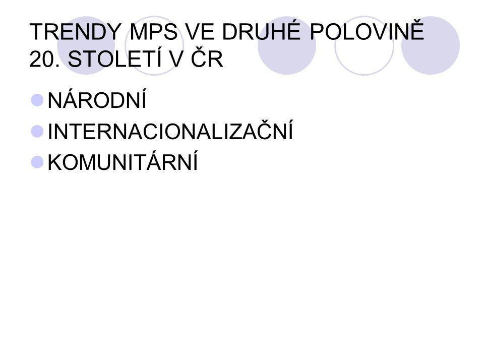 TRENDY MPS VE DRUHÉ POLOVINĚ 20. STOLETÍ V ČR
