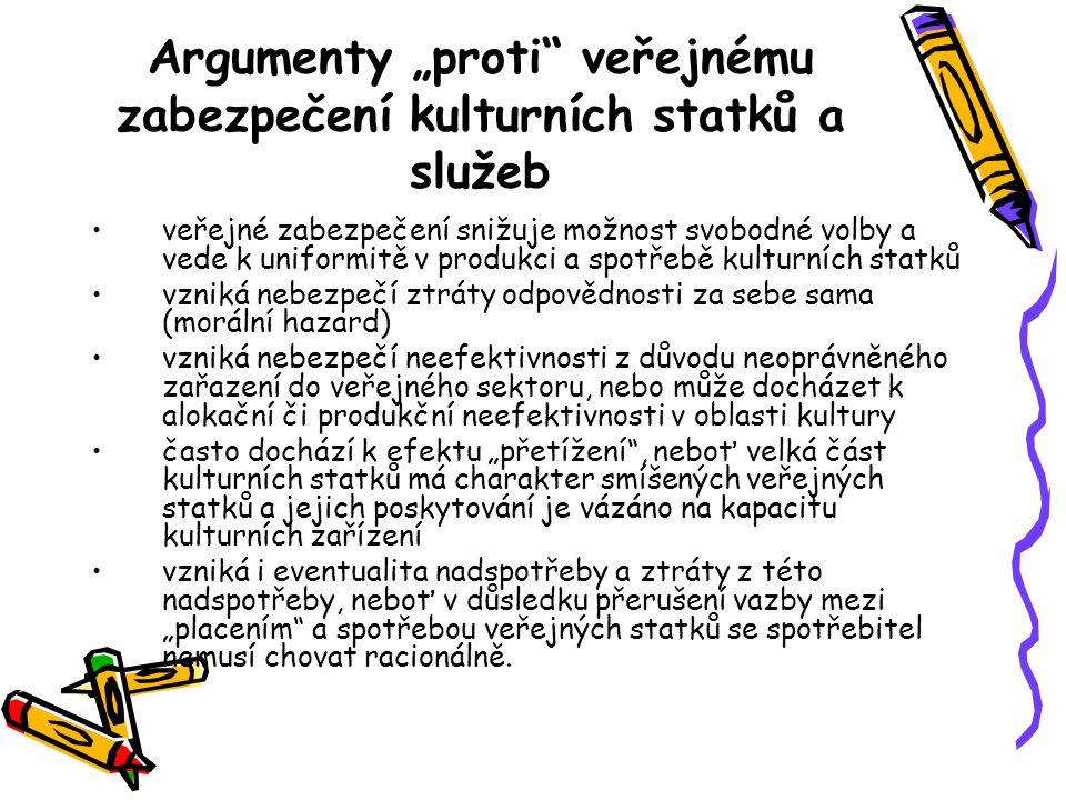 """Argumenty """"proti veřejnému zabezpečení kulturních statků a služeb"""