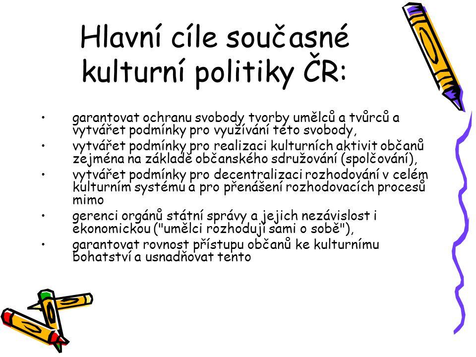 Hlavní cíle současné kulturní politiky ČR:
