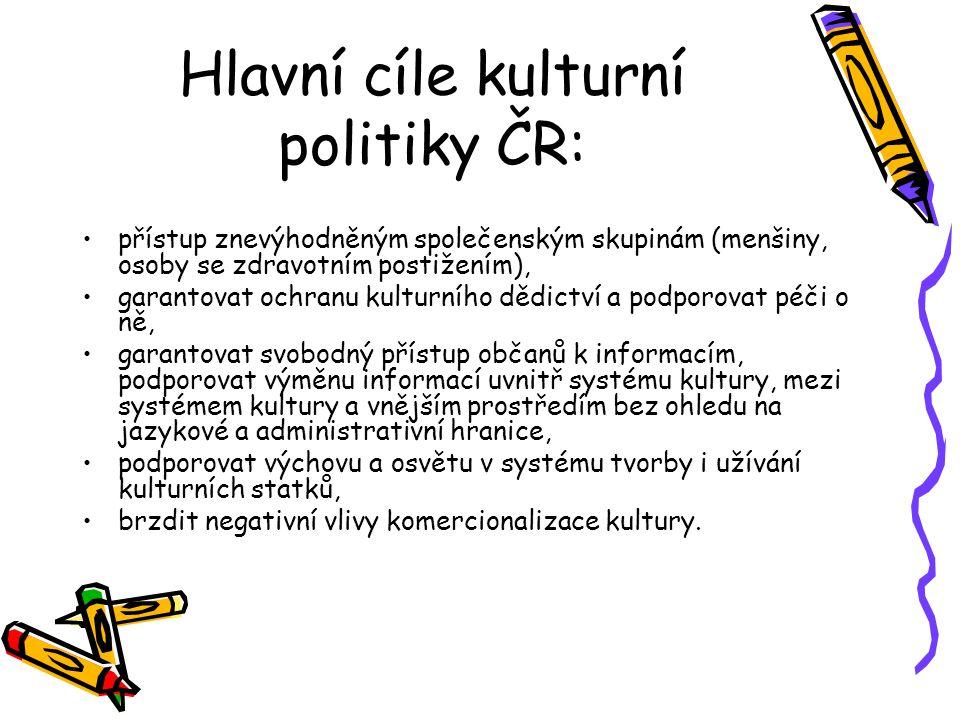 Hlavní cíle kulturní politiky ČR:
