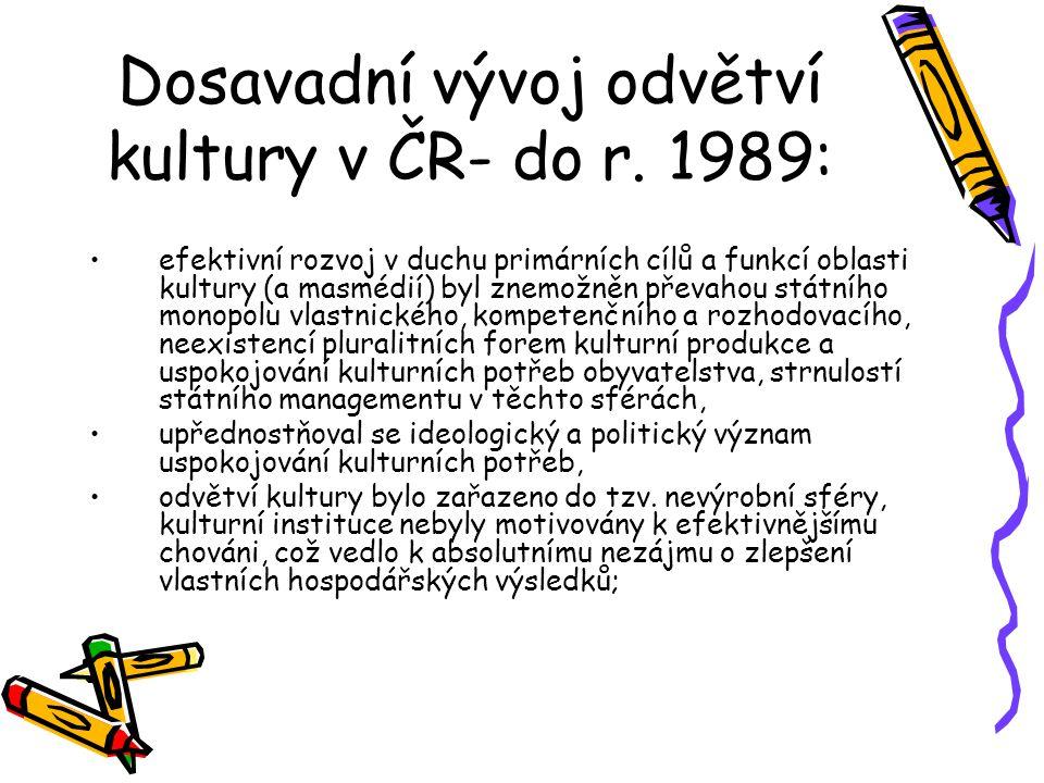 Dosavadní vývoj odvětví kultury v ČR- do r. 1989: