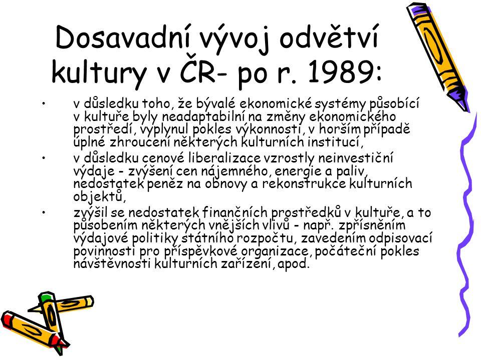 Dosavadní vývoj odvětví kultury v ČR- po r. 1989: