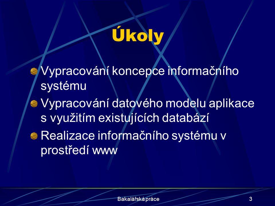 Úkoly Vypracování koncepce informačního systému