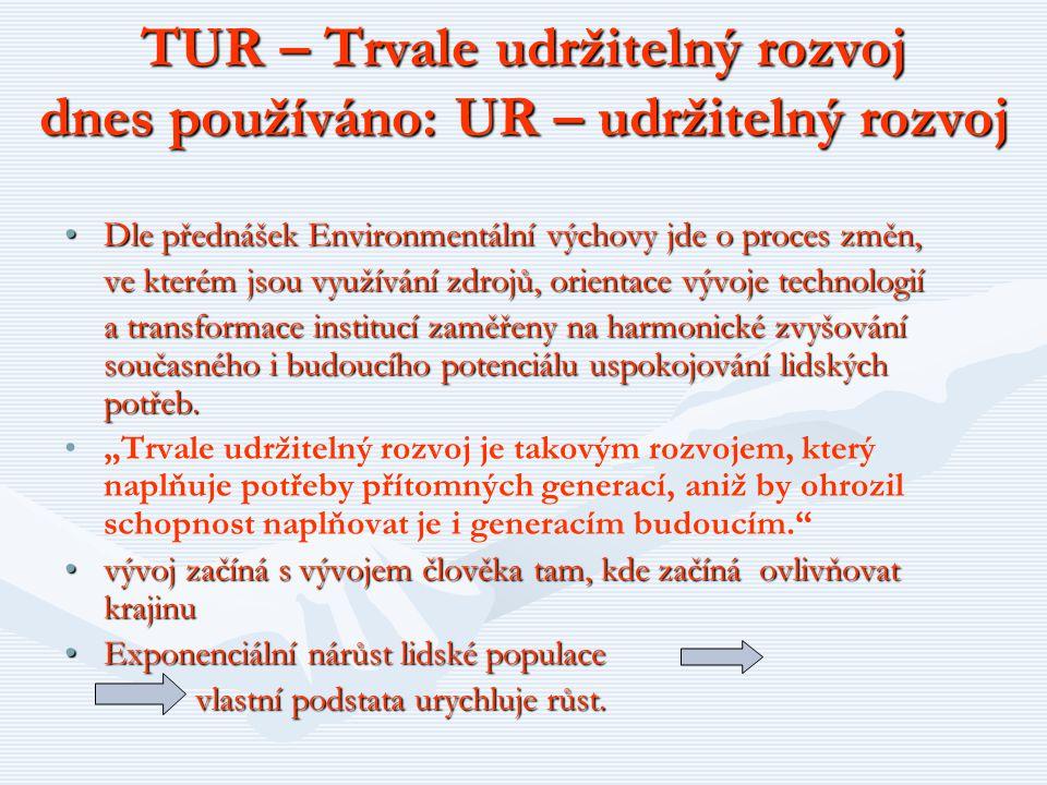 TUR – Trvale udržitelný rozvoj dnes používáno: UR – udržitelný rozvoj